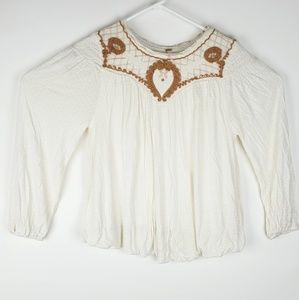 Free People Lace Embroidered Tunic Peasant Top L